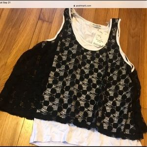 NWT Black and White Layered Tank